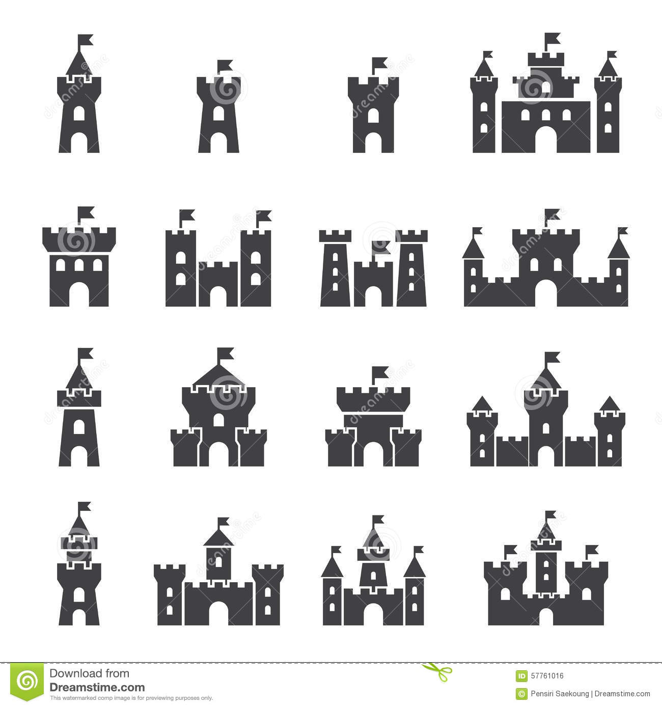 Castle Icon Set Stock Vector Image Of History Defense