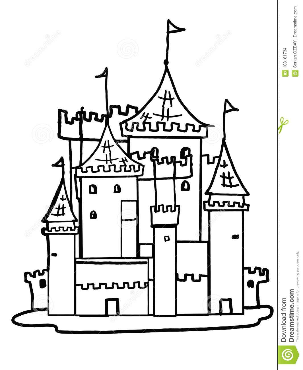 Castle Illustration Drawing King Cartoon Drawing Coloring