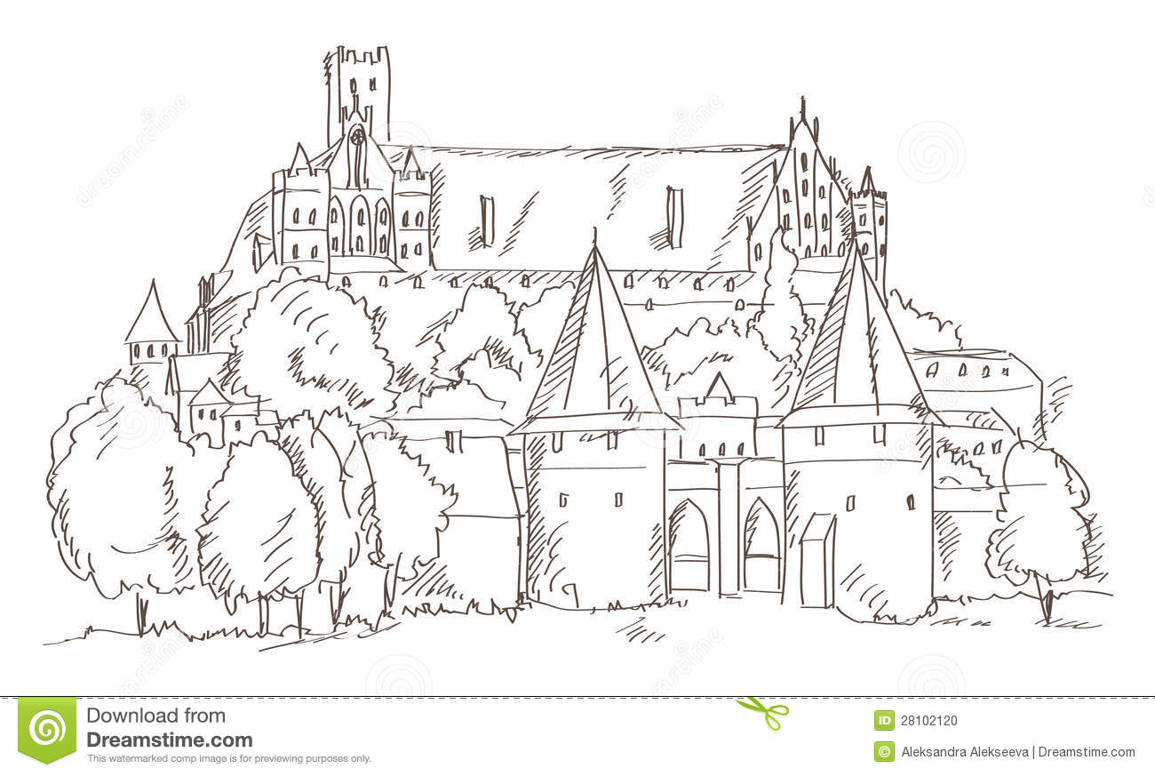 Castle Malbork In Poland Hand Drawing Stock Vector