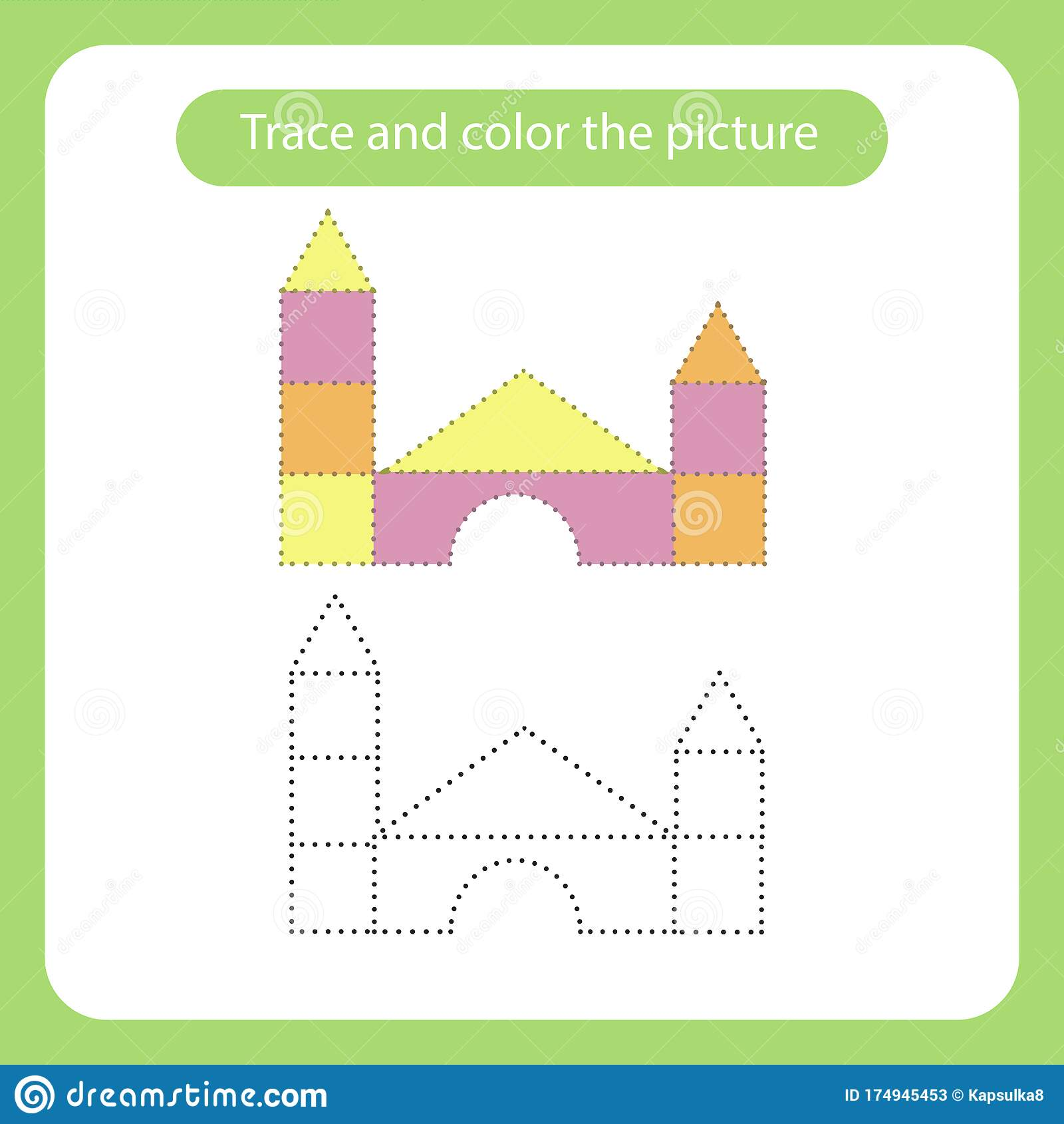 Castle Out Of Blocks Toy With Simple Shapes Trace And