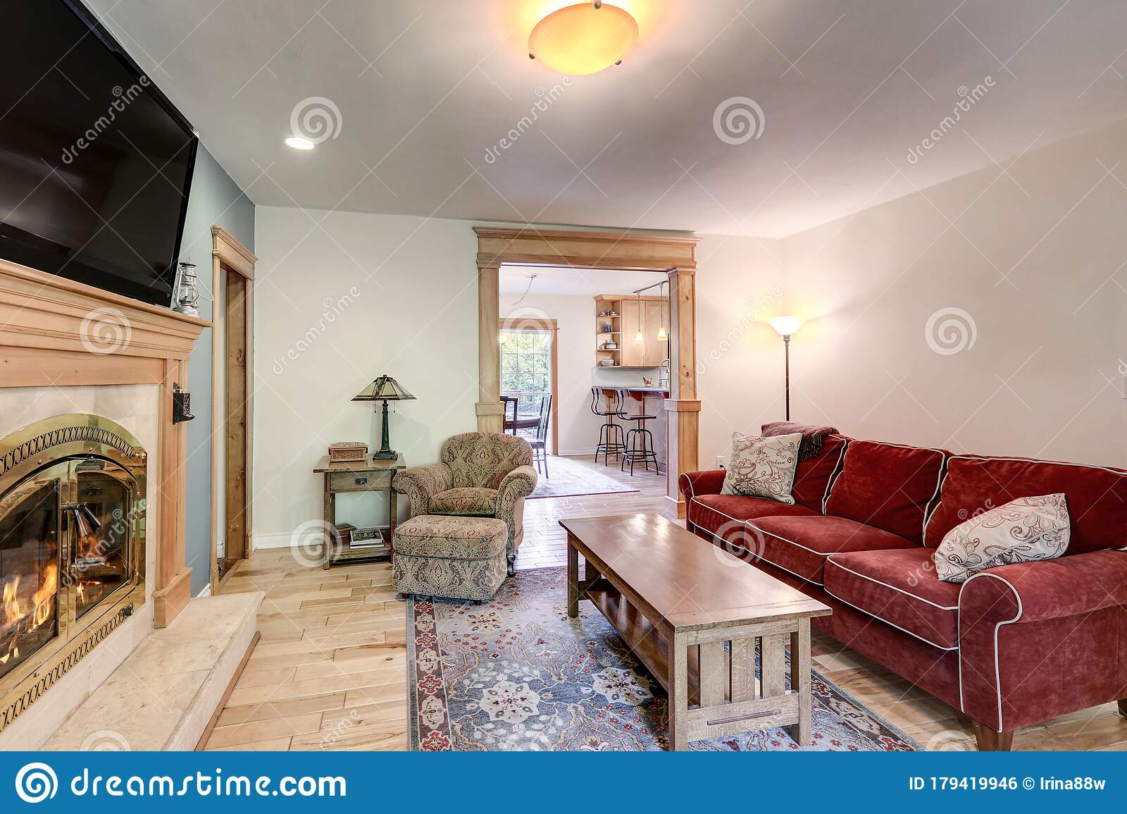Casual Simple Living Room With Fireplace, Blue Wall, Red ... on Fireplace Casual Living id=44695