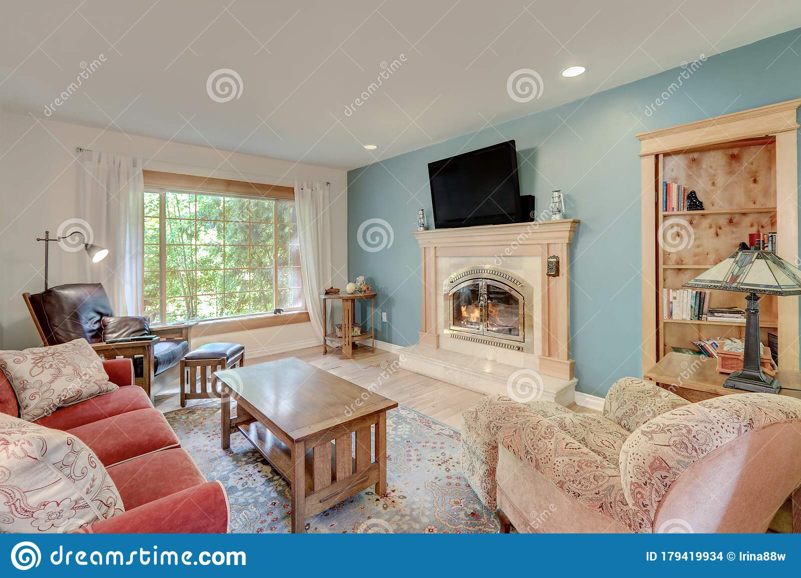 Casual Simple Living Room With Fireplace And Red Sofa With ... on Fireplace Casual Living id=81614