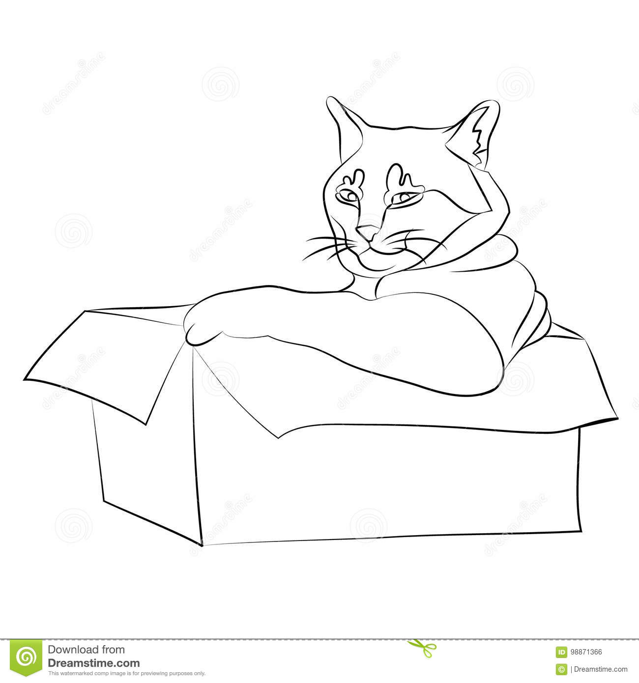Cat In A Cardboard Box Drawing Stock Vector