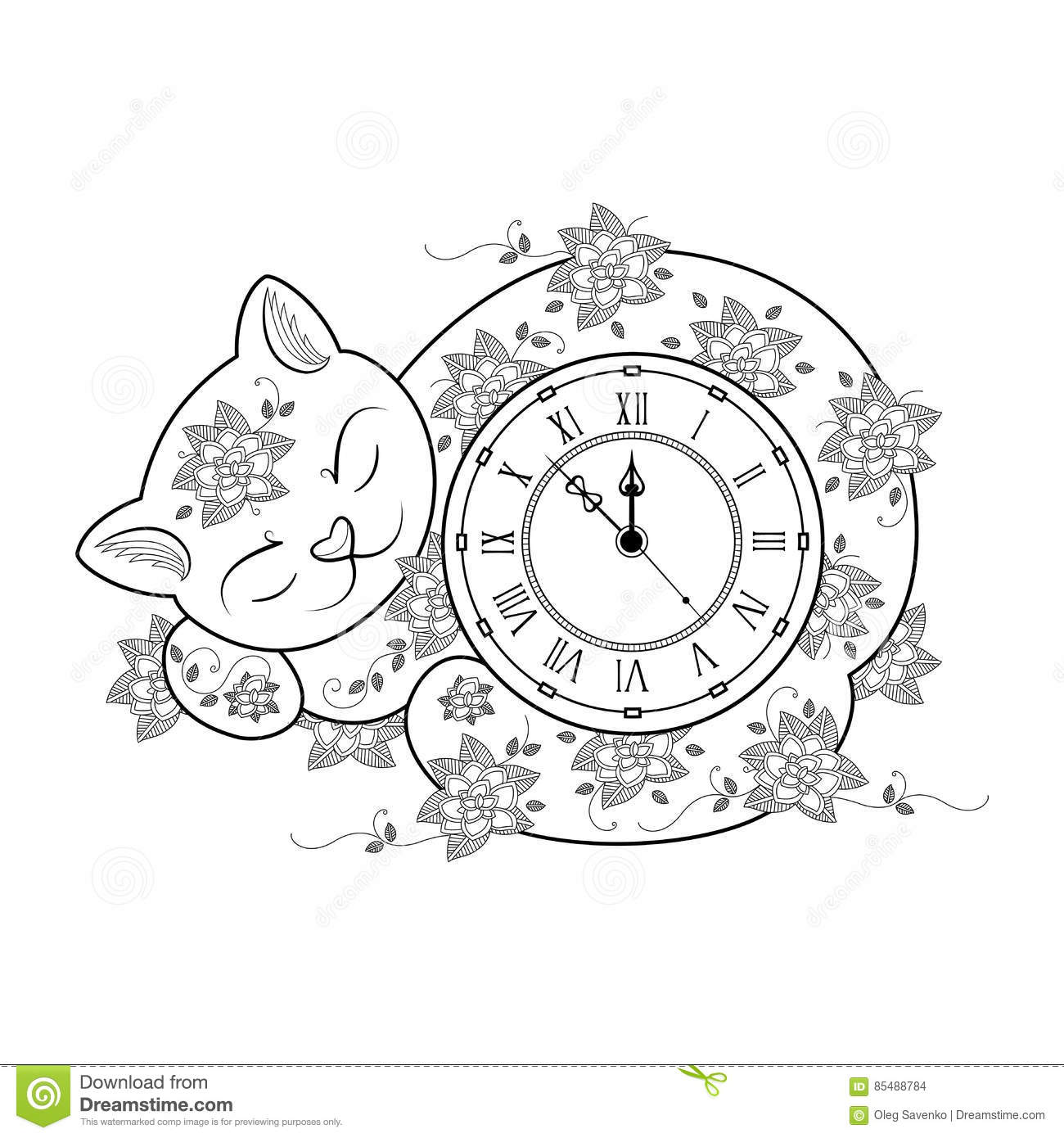 Cat Clock Coloring Page Thin Line Coloring Book Vector