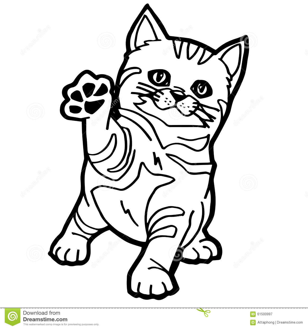 Cat Coloring Page Stock Vector Illustration Of Tail