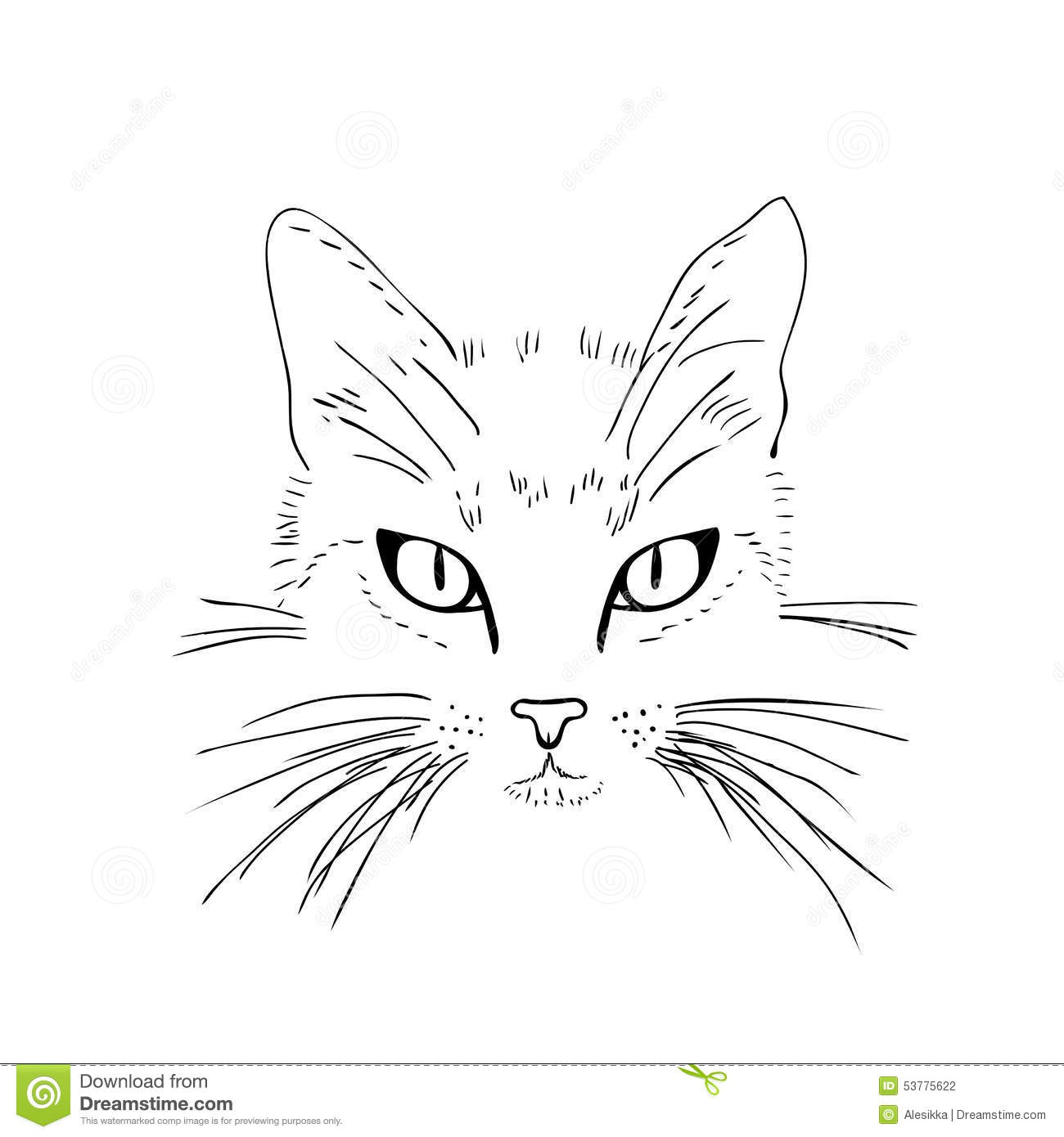 Cat Face Black And White Sketch Stock Illustration