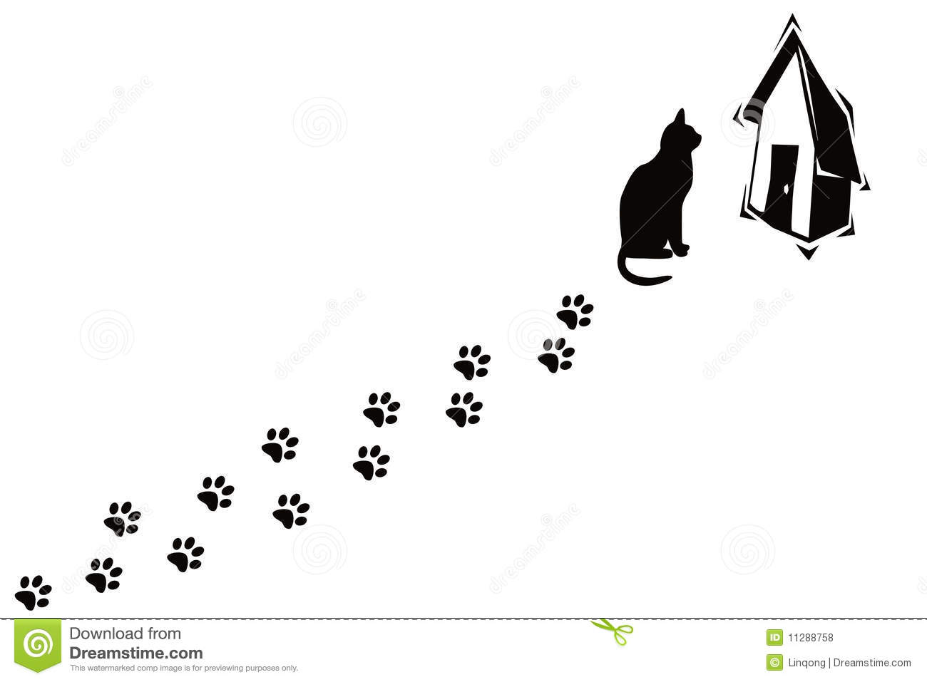 Cat And Its Paw Prints Stock Illustration Illustration Of