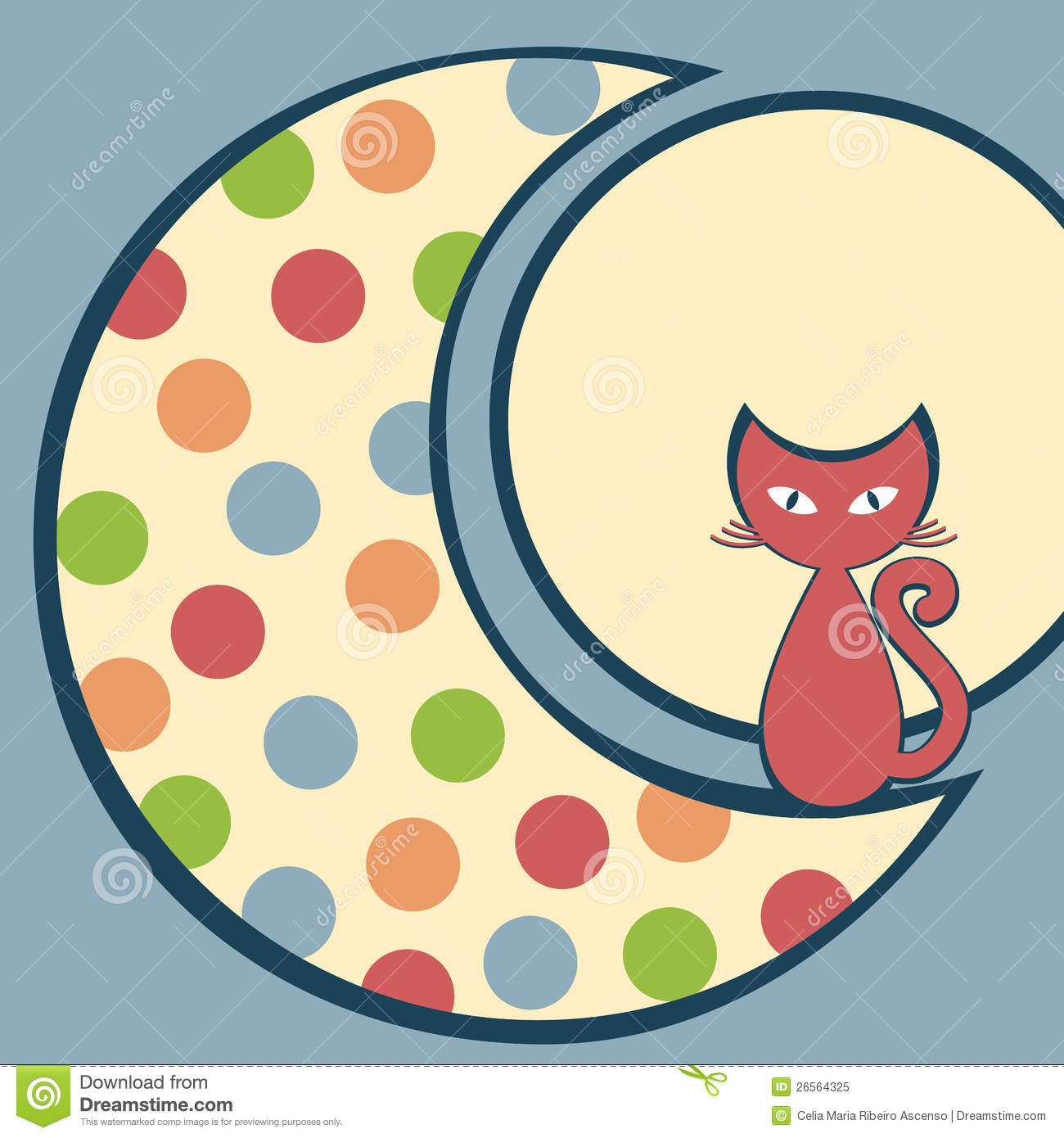Cat In The Moon Greeting Card Stock Illustration Image