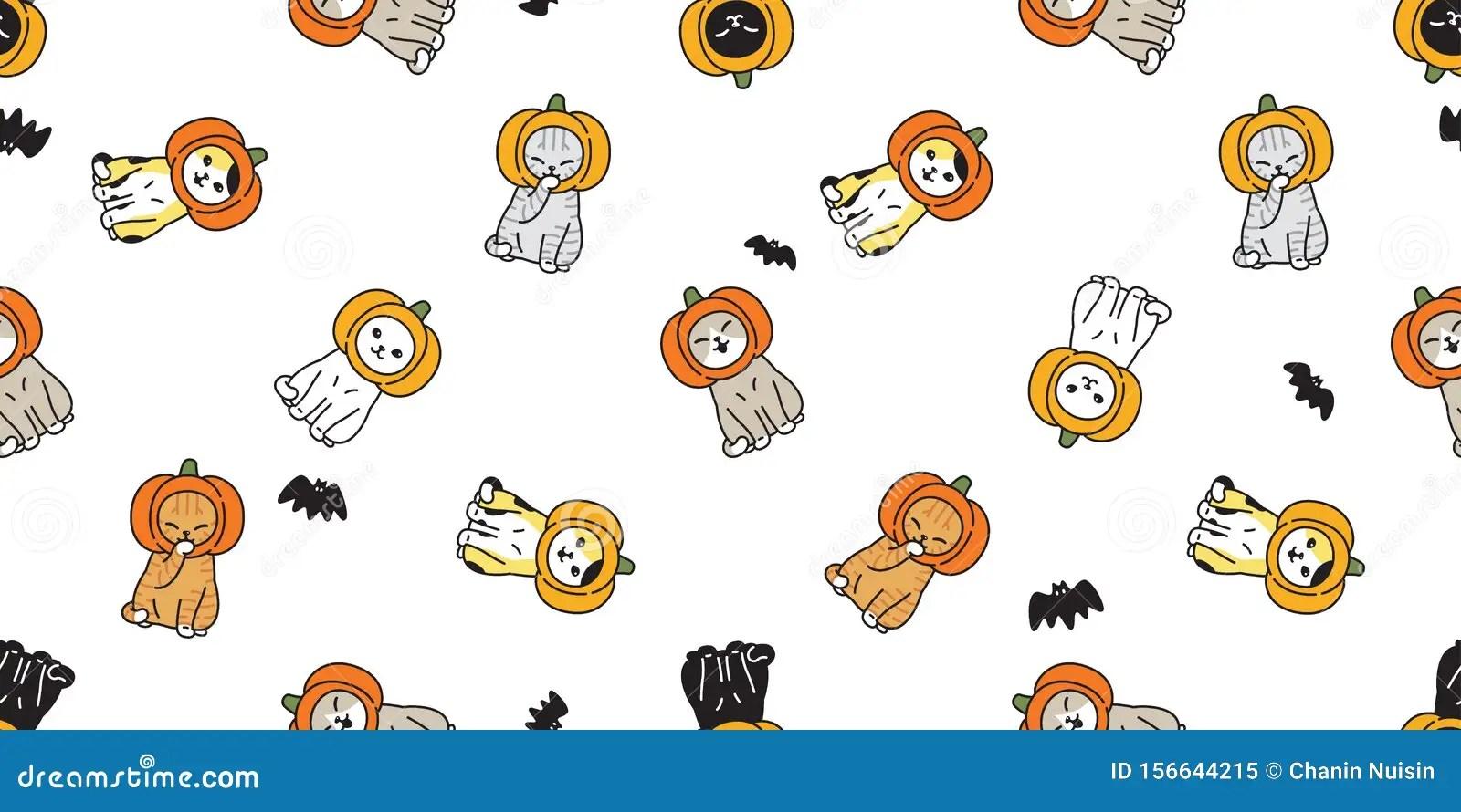 1920x1200 black cat halloween wallpaper pc. Cat Seamless Pattern Halloween Pumpkin Head Kitten Calico Bat Scarf Isolated Tile Background Repeat Wallpaper Cartoon Illus Stock Illustration Illustration Of Meow Icon 156644215