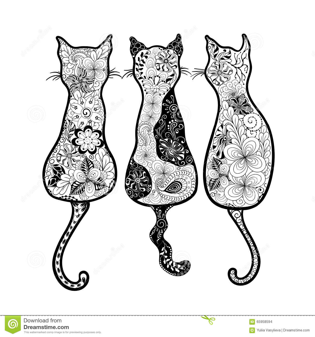 Cats Doodle Stock Vector Illustration Of Animal Stylized