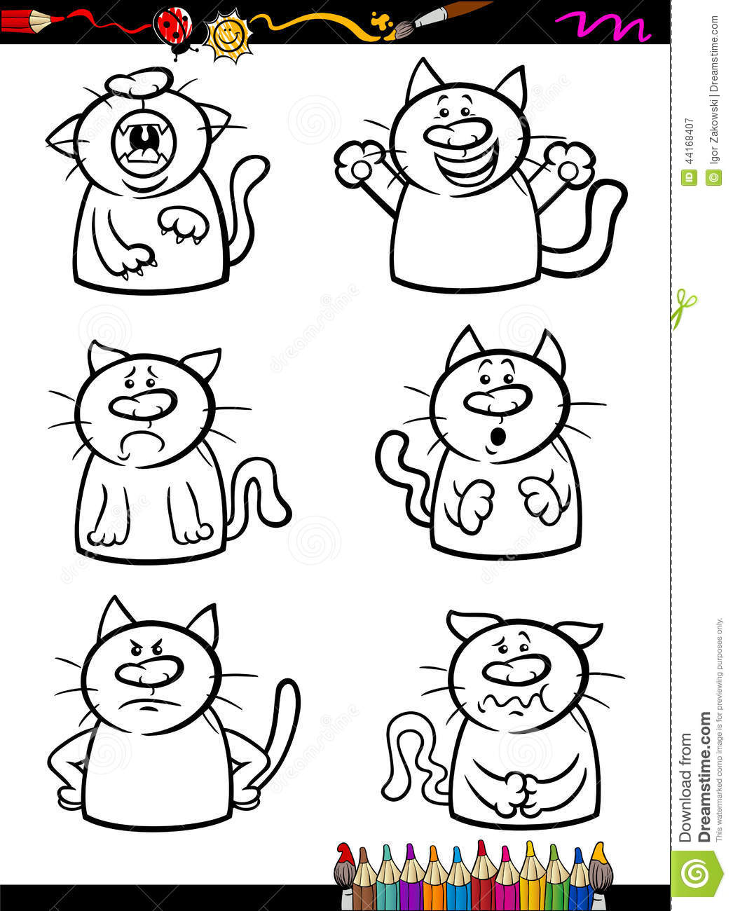 Cats Emotion Set Cartoon Coloring Book Stock Vector