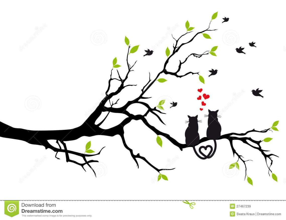 Download Cats In Love On Tree, Vector Stock Vector - Illustration ...