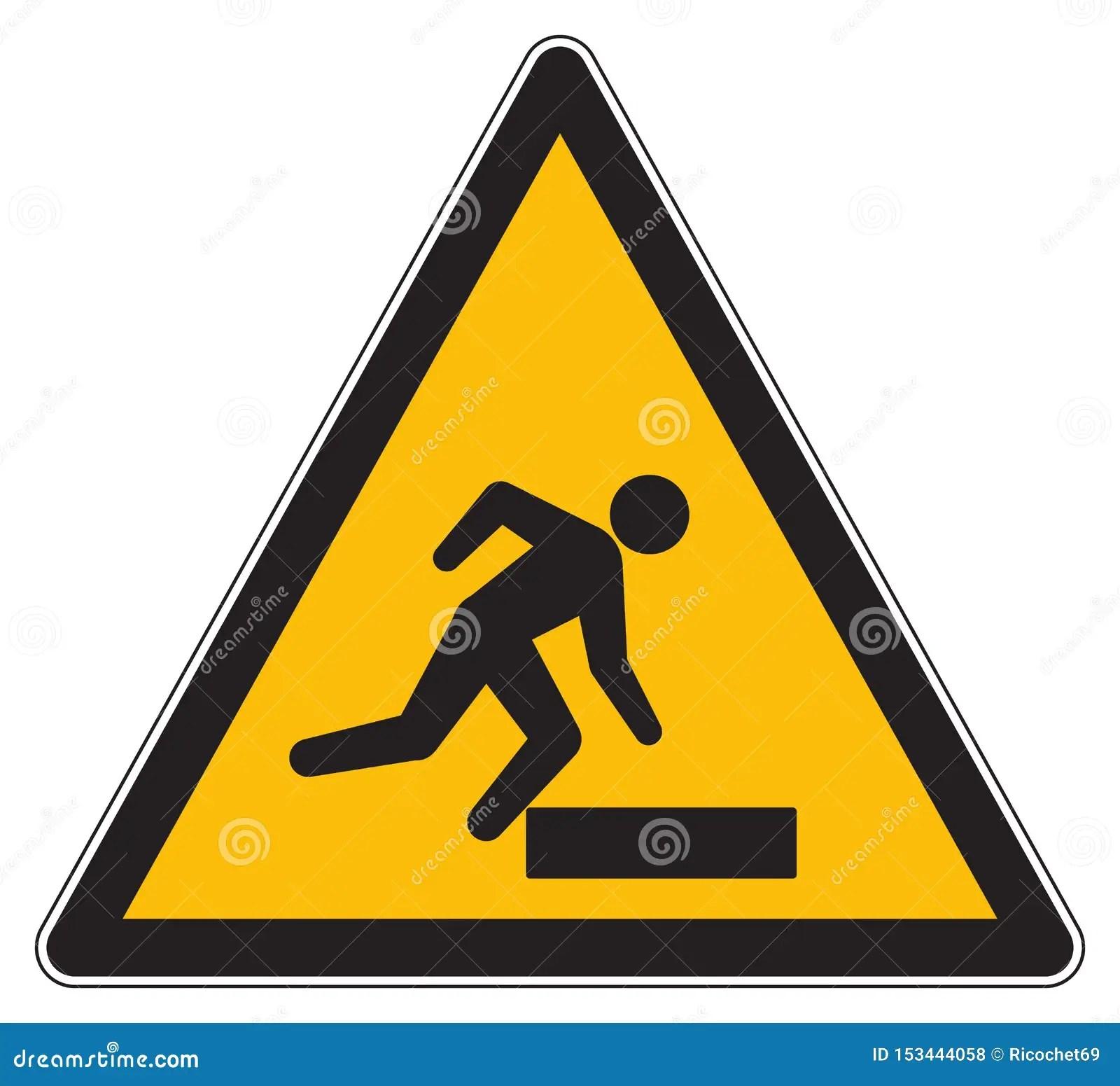 Caution Trip Hazard Yellow Sign Stock Illustration