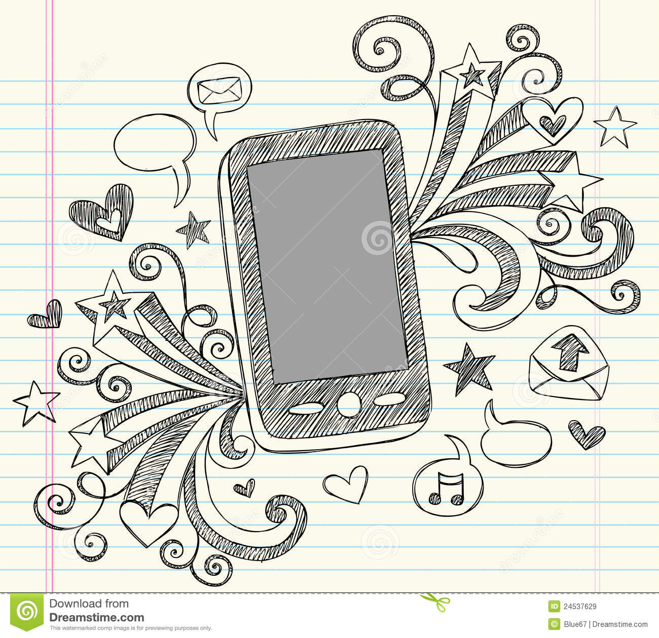 Cell Phone Sketchy Doodles PDA Vector Stock Illustration