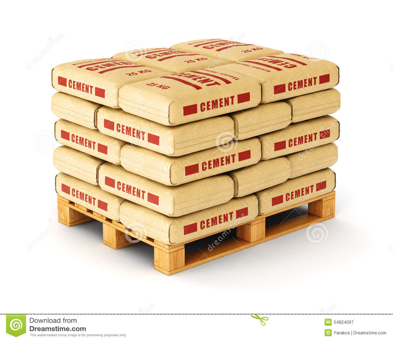 Cement Bags On Pallet Stock Photo