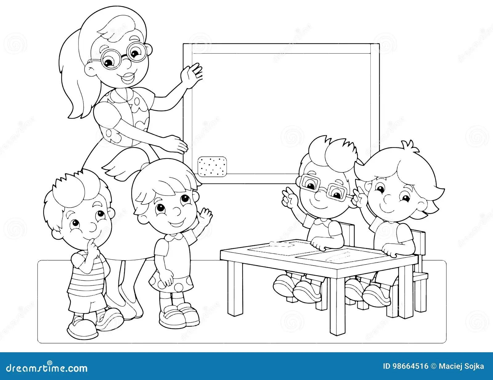 A Cena Dos Desenhos Animados Com Criancas E O Professor Na Sala De Aula Que Guarda As Maos