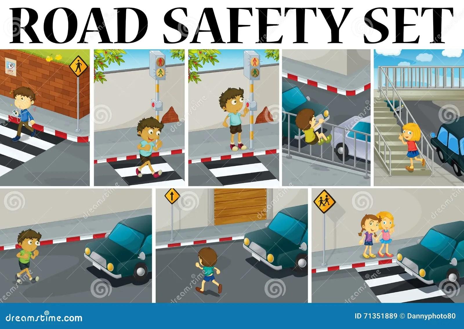 Cenas Diferentes Com Seguranca Rodoviaria Ilustracao Do