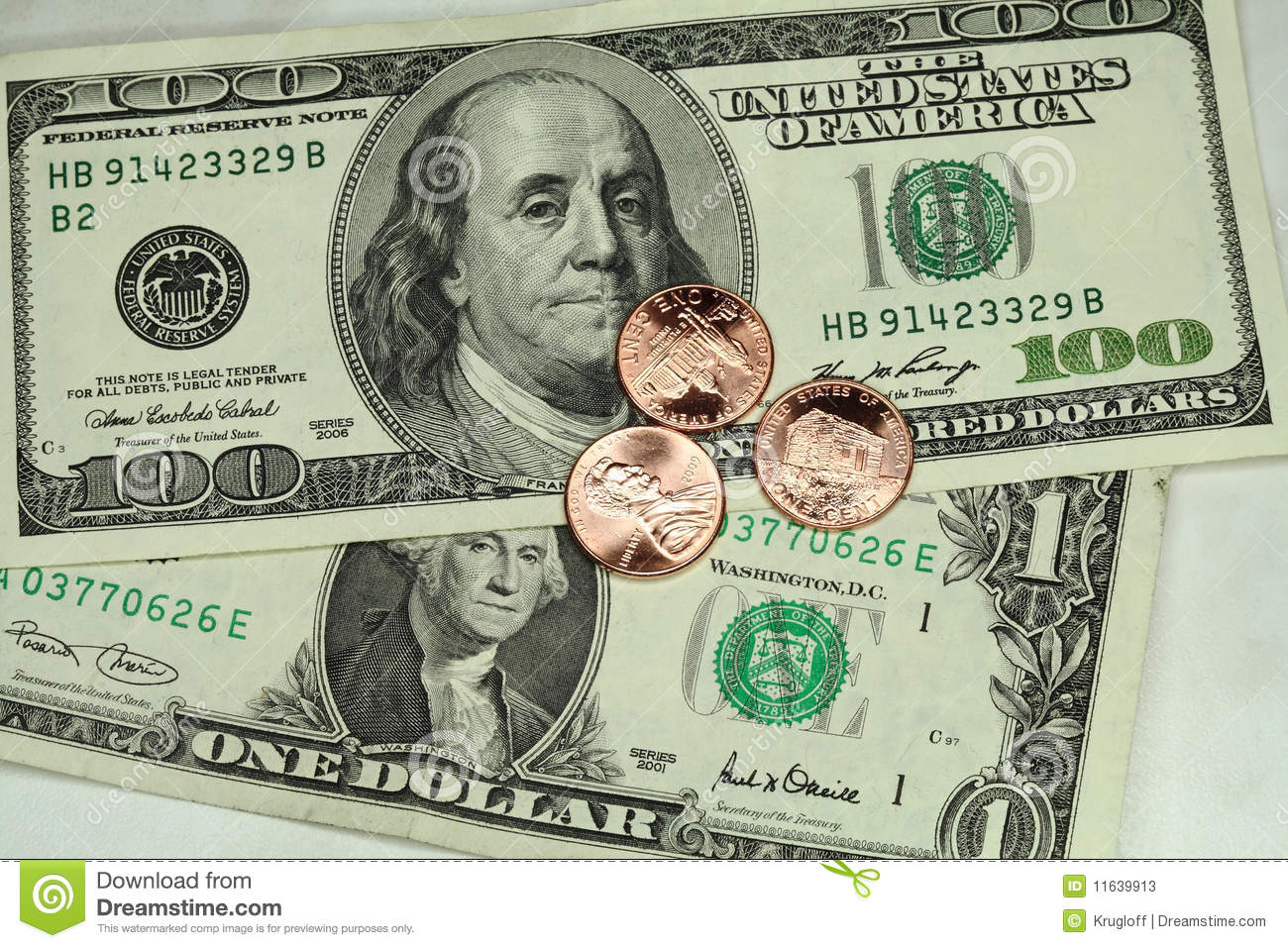 Cents And Dollars Stock Image Image Of Bill Paper