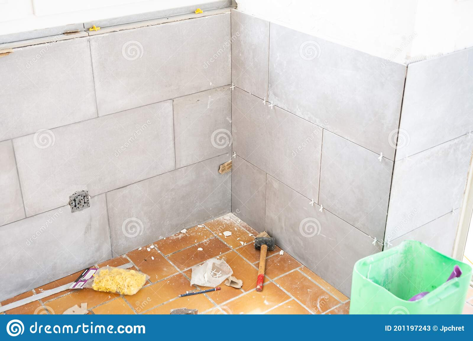 ceramic tile installation site with its tools stock image image of manual hammer 201197243