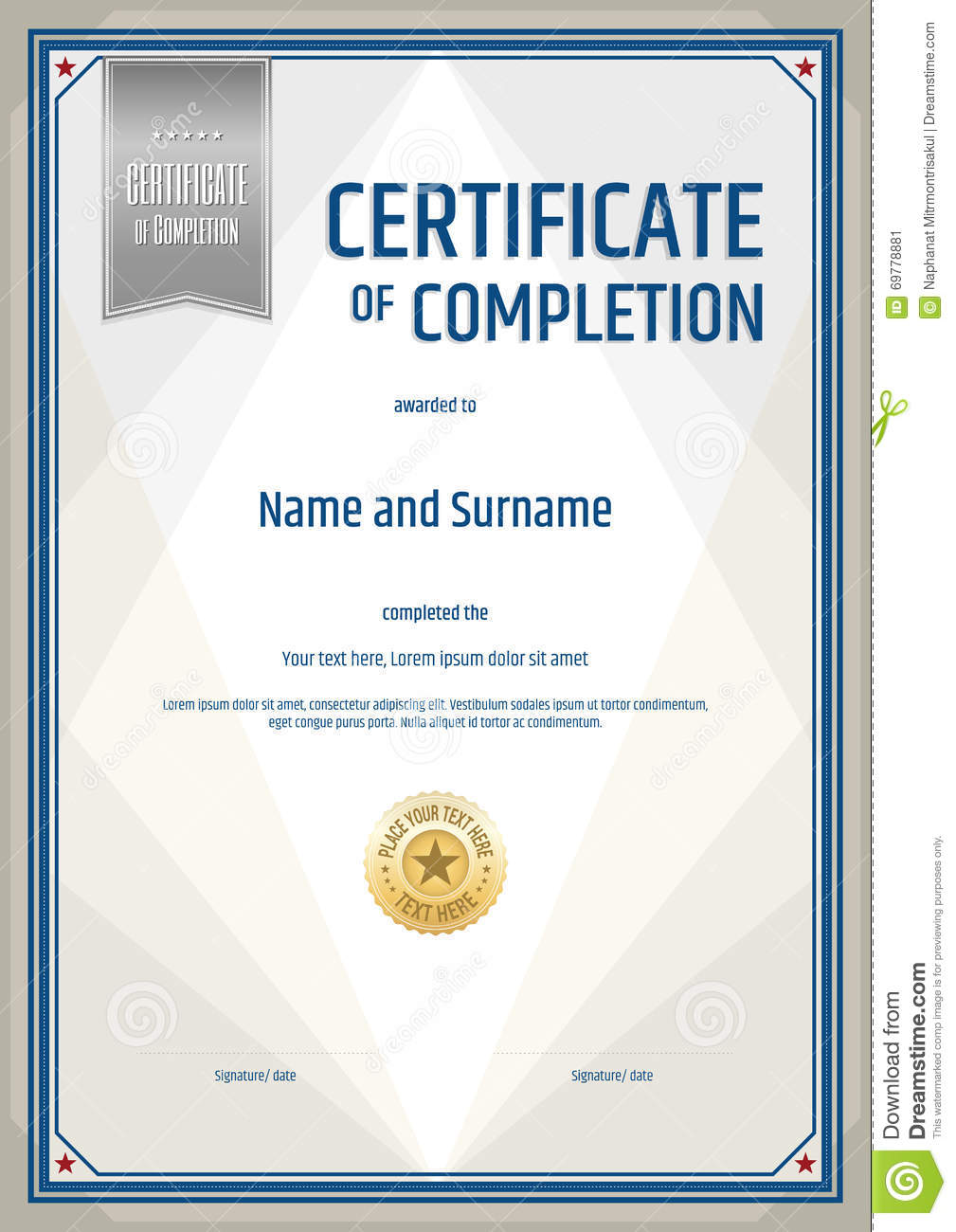 Certificate Of Completion Template In Portrait Stock Vector Illustration Of Business Portrait