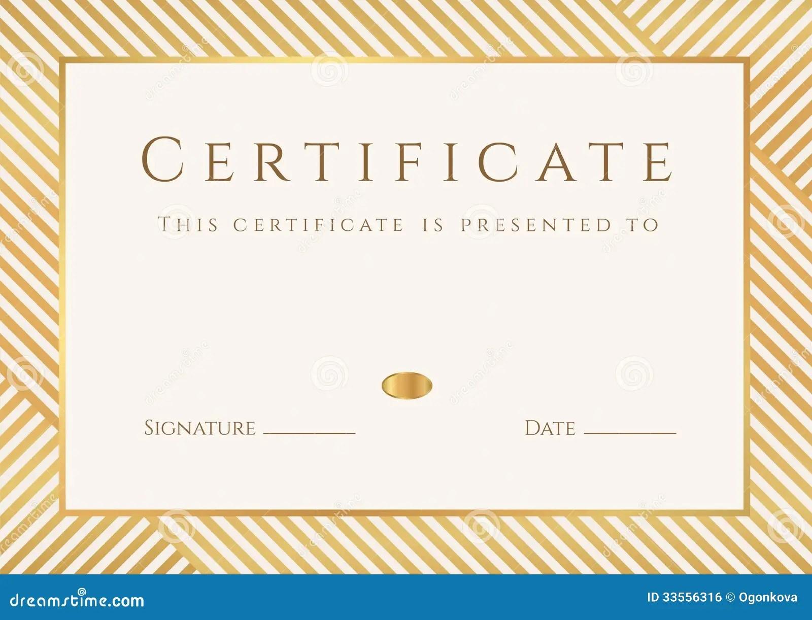 Certificate Diploma Template Gold Award Pattern Royalty