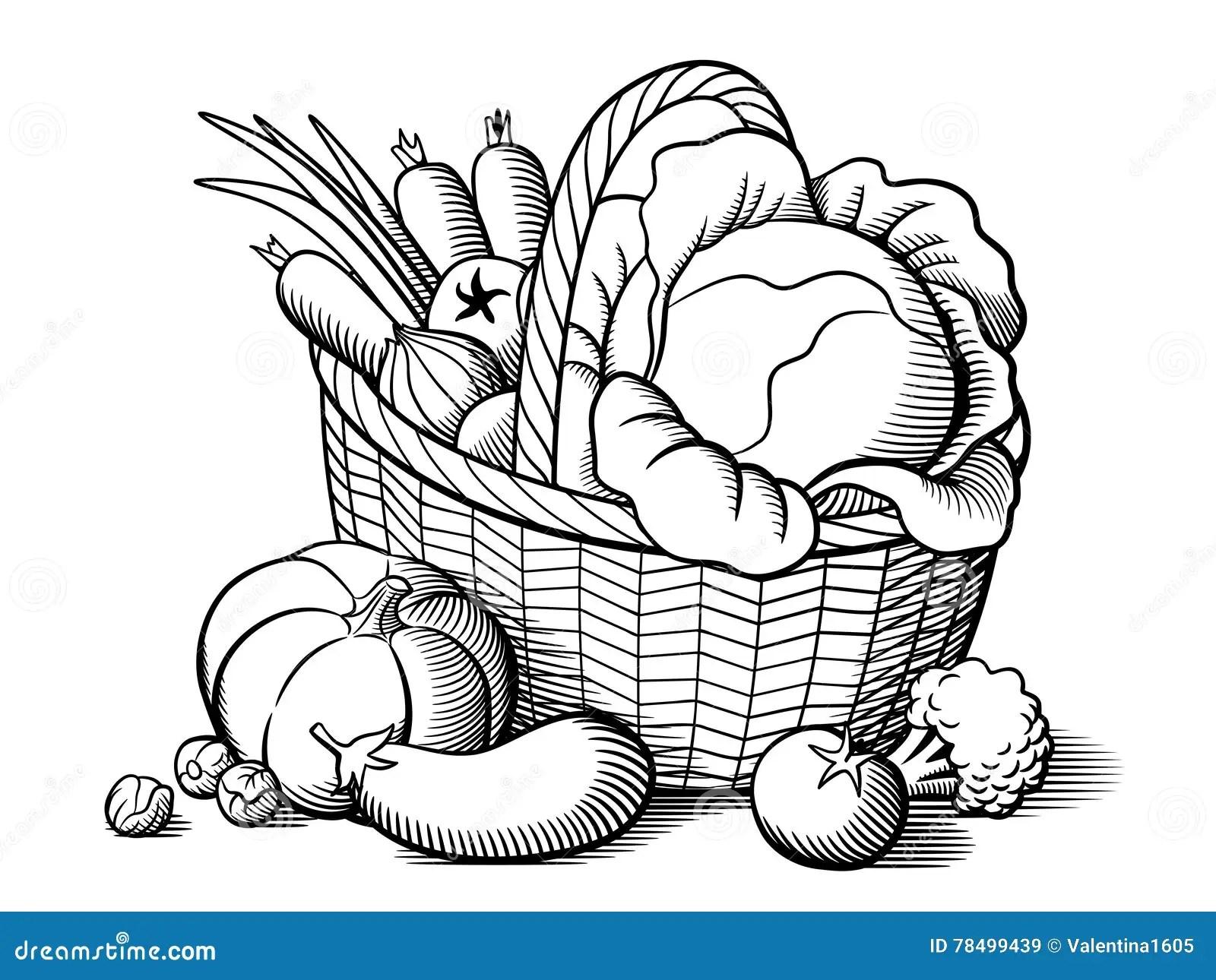 Cesta Con Las Verduras Ilustracion Del Vector Ilustracion
