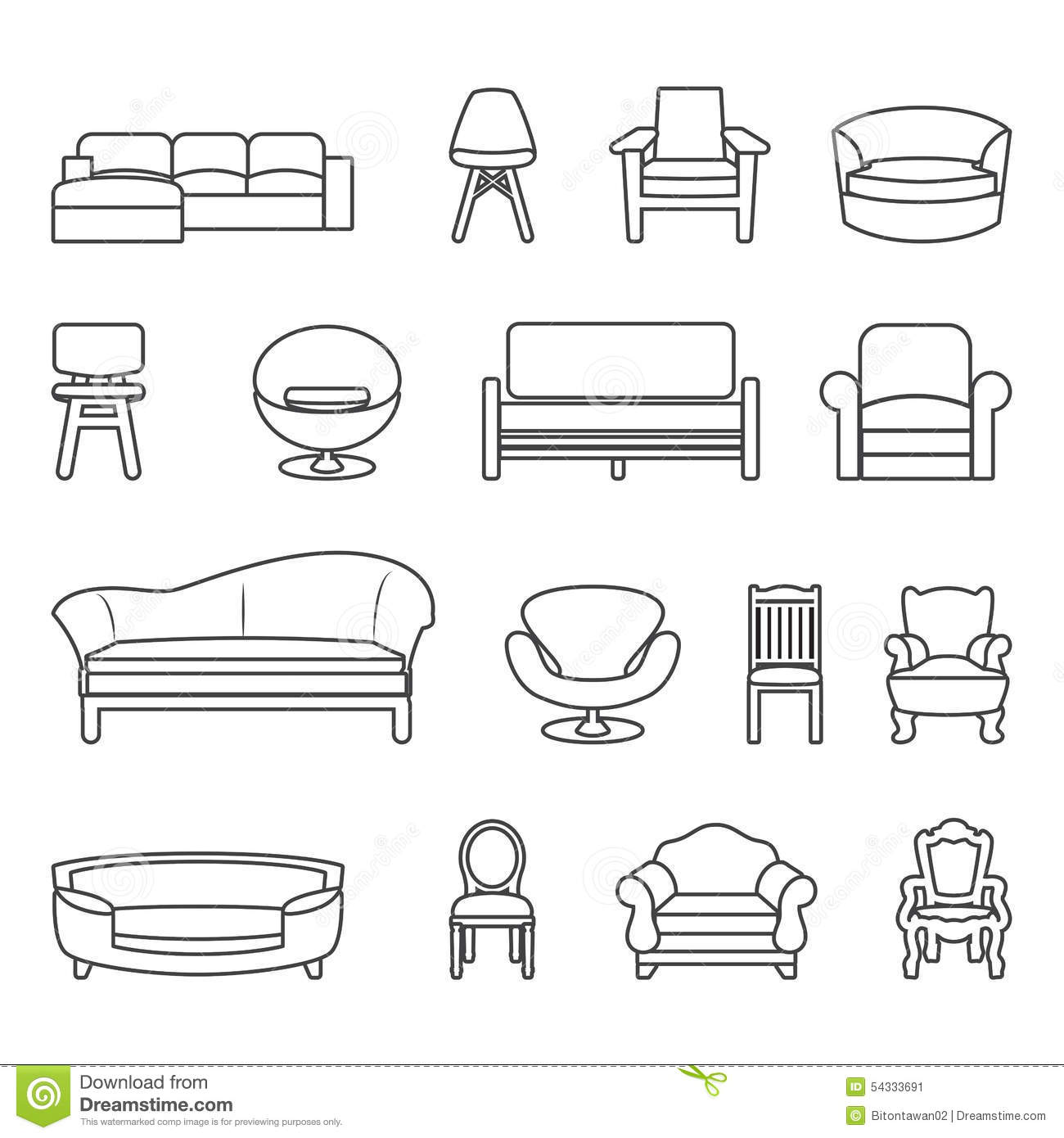 Chair And Sofa Line Vector Set Stock Vector