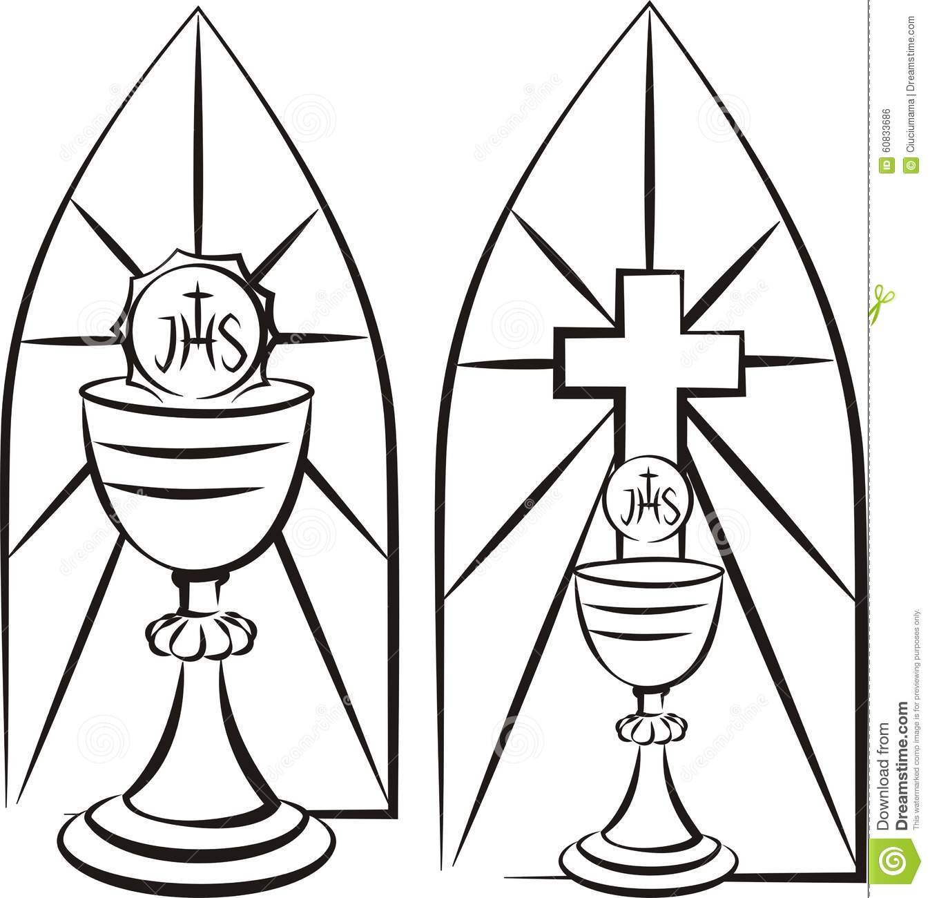 Chalice On The Background Of Stained Glass Stock Vector