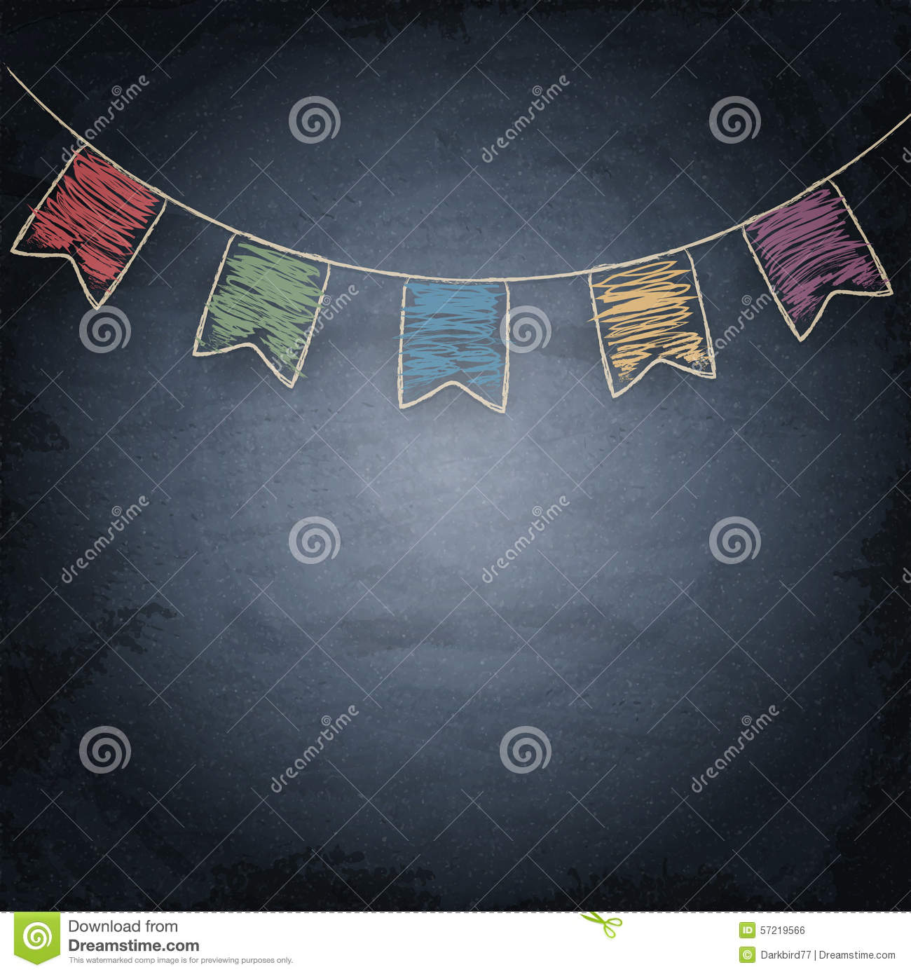 Chalkboard Background With Drawing Bunting Flags Stock