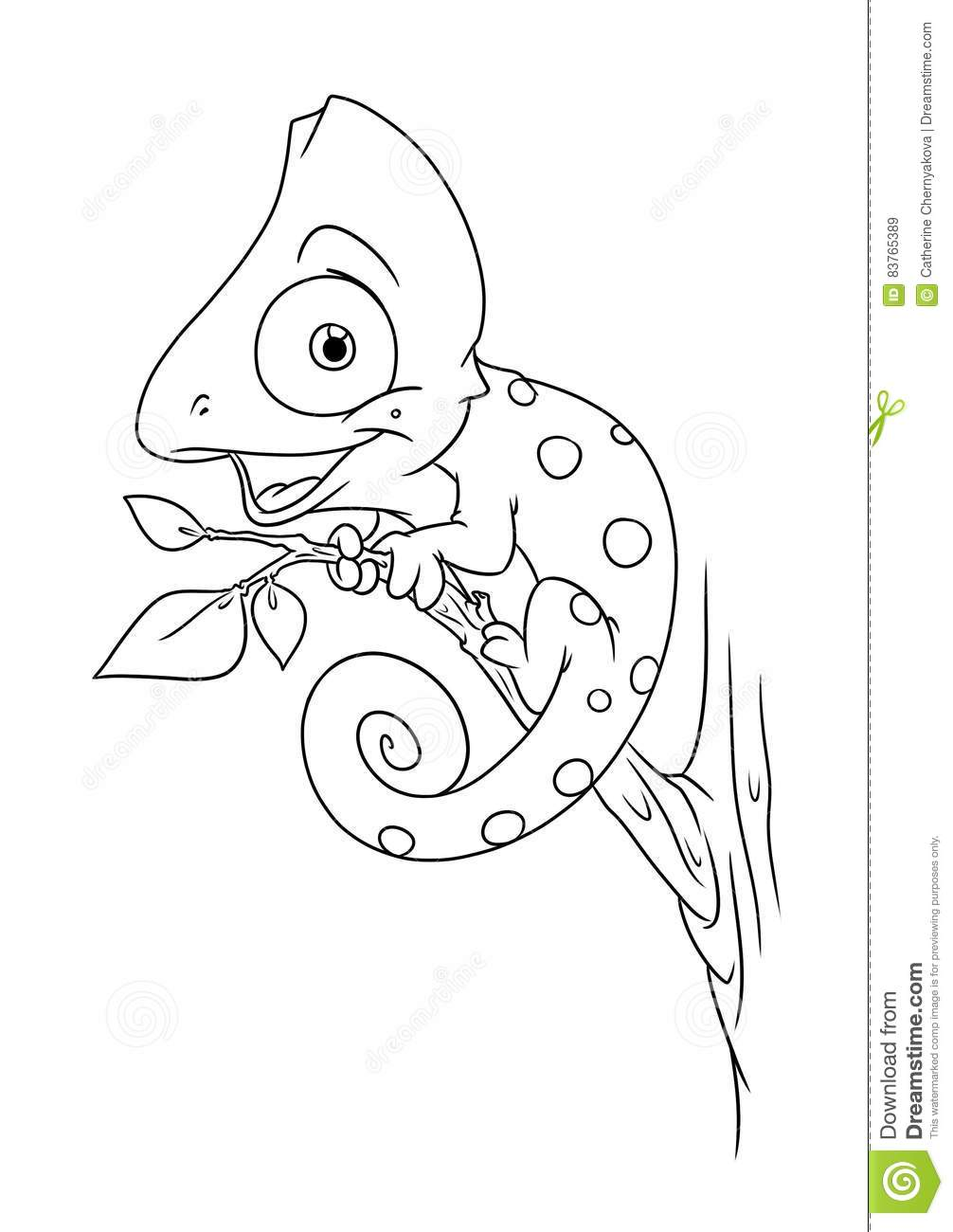 Chameleon Animal Coloring Pages Cartoon Stock Illustration Illustration Of Coloring Color 83765389