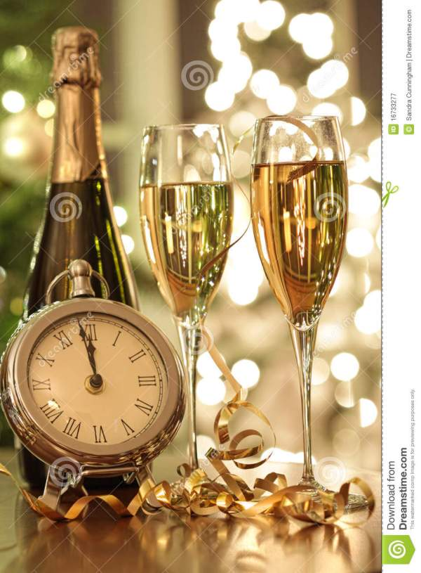 Champagne Glasses Ready To Bring In The New Year Stock ...