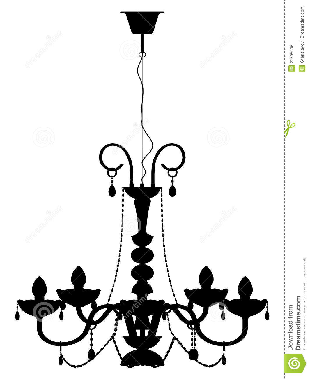 Chandelier Lamp Outline Silhouette Stock Illustration