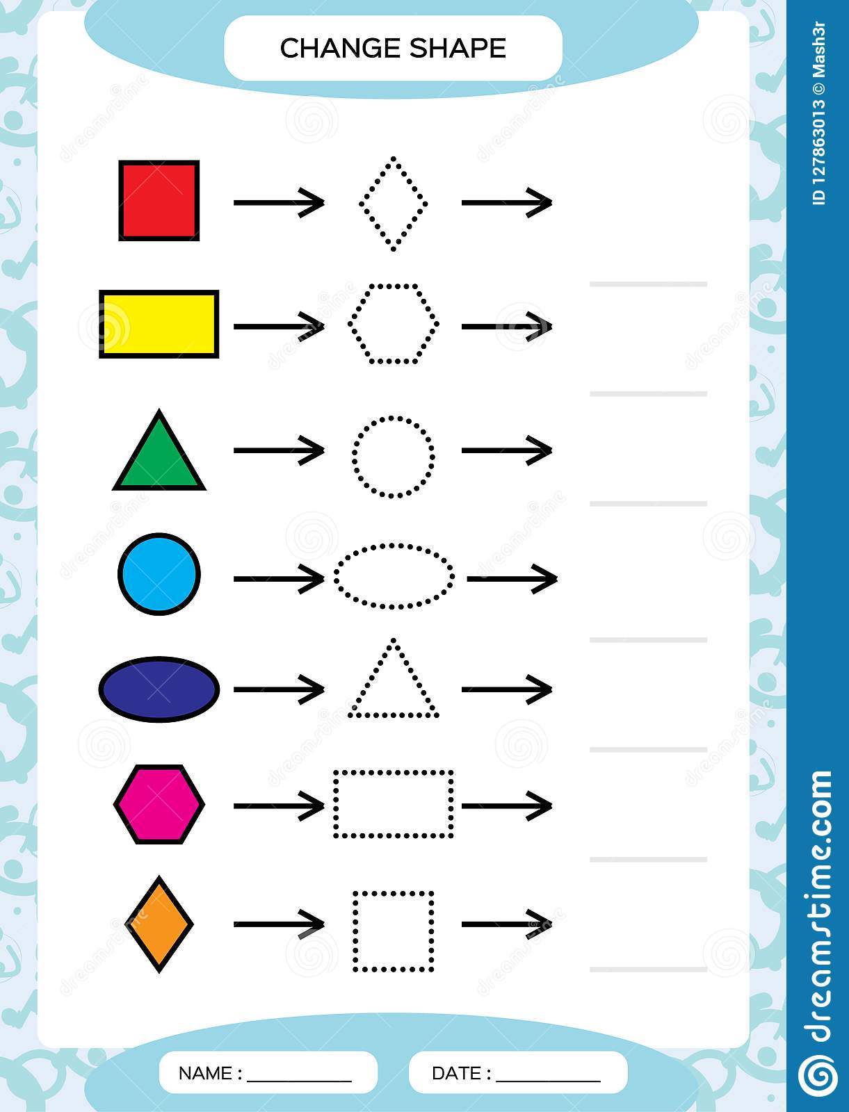 Change Color Colorful Shapes Learning Basic Shapes