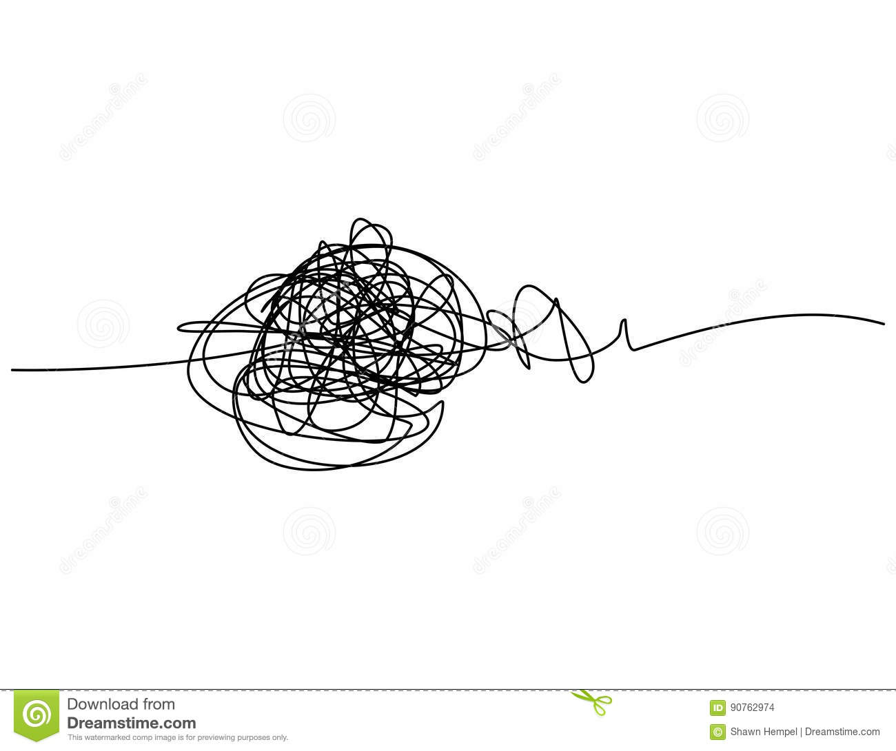 Chaotic Hand Drawn Scribble Sketch Circle With Start And