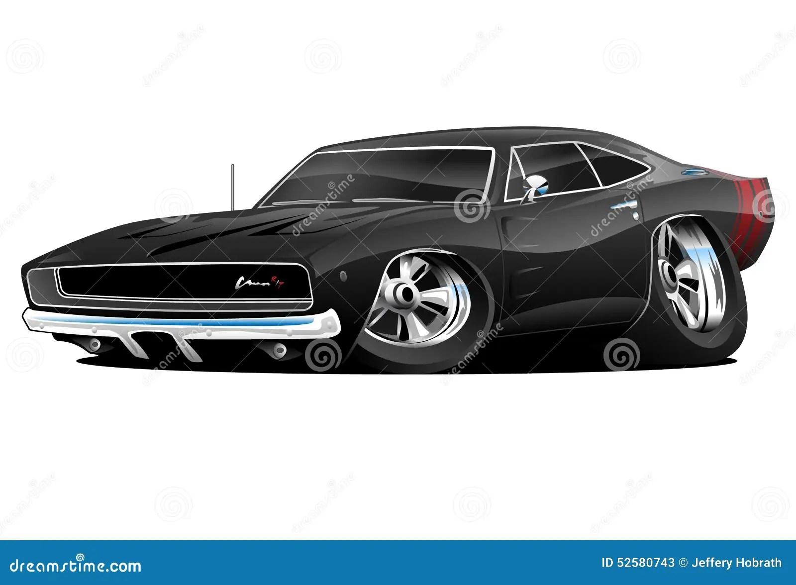 American Classic Muscle Car Cartoon Stock Illustration