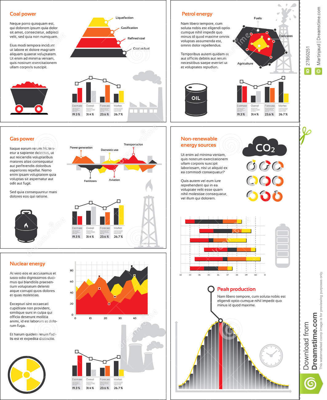 Charts And Graphics Of Non Renewable Energy Stock Image