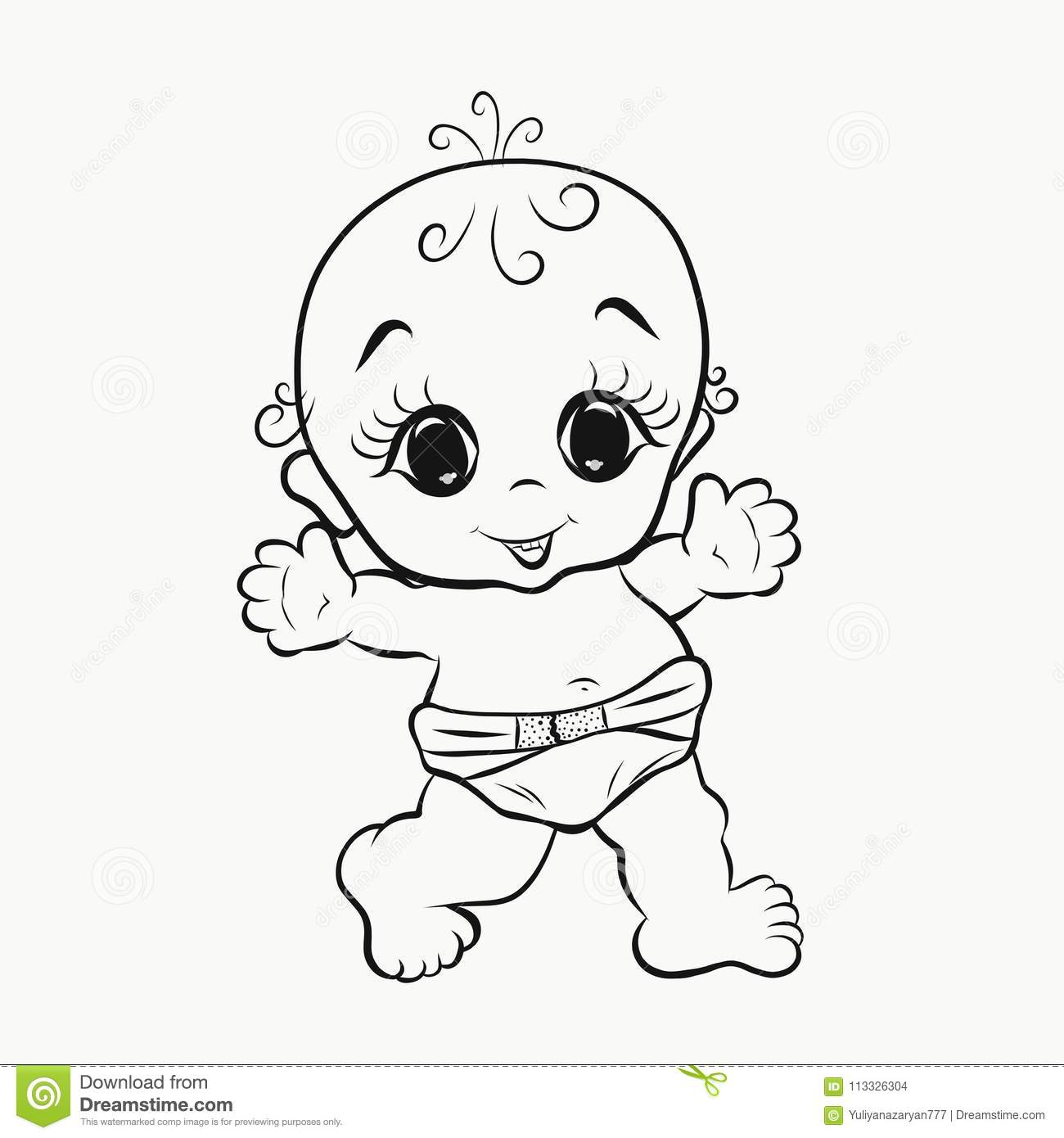 Cheerful Walking Baby With Big Eyes Coloring Stock Illustration