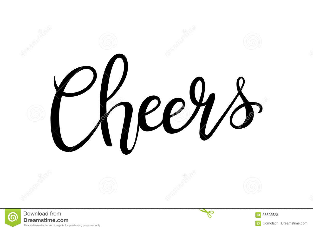 Cheers Hand Drawn Lettering Decoration Text On White