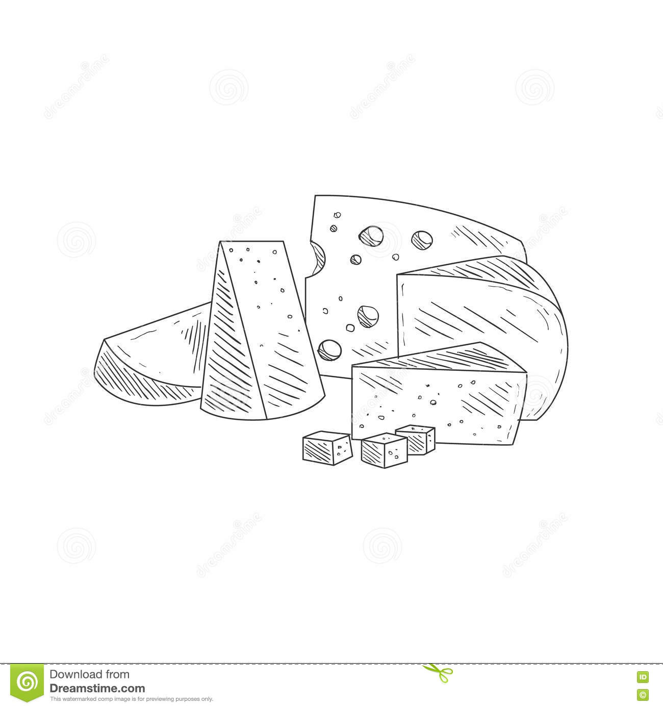 wiring diagram database  cheese assortment plate hand drawn realistic  sketch stock