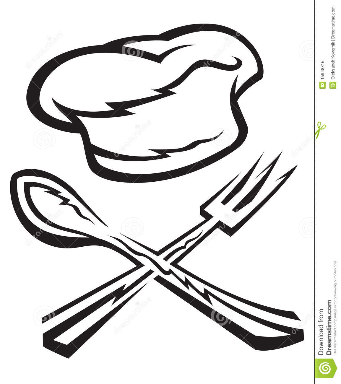 Chef Hat With Spoon And Fork Royalty Free Stock Photo