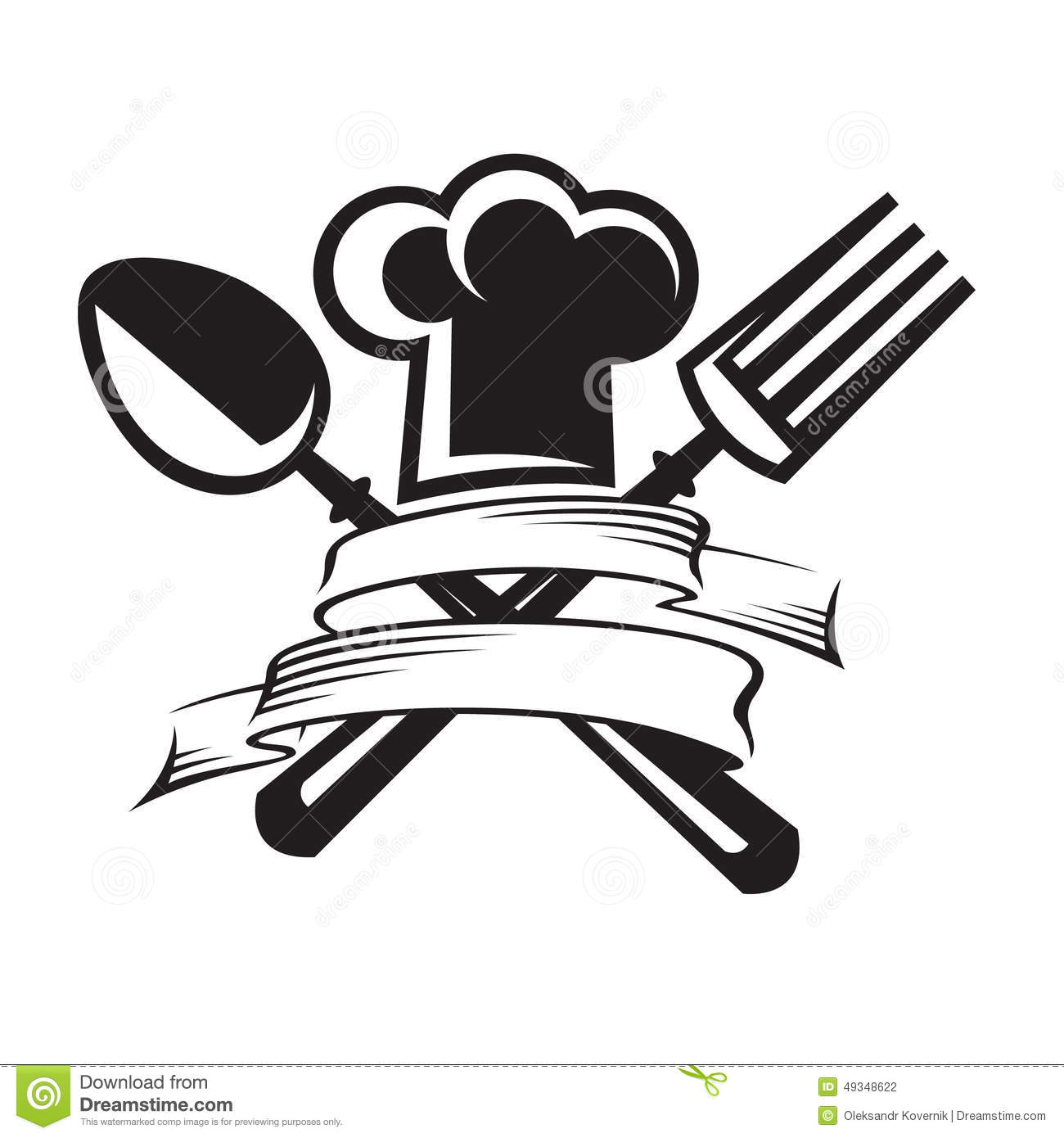 Chef Hat With Spoon And Fork Stock Vector