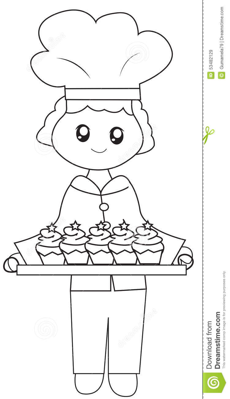 the chef his baked cupcakes coloring page stock