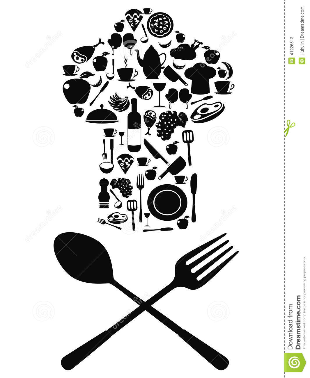 Chef Symbol With Spoon And Knife Stock Vector