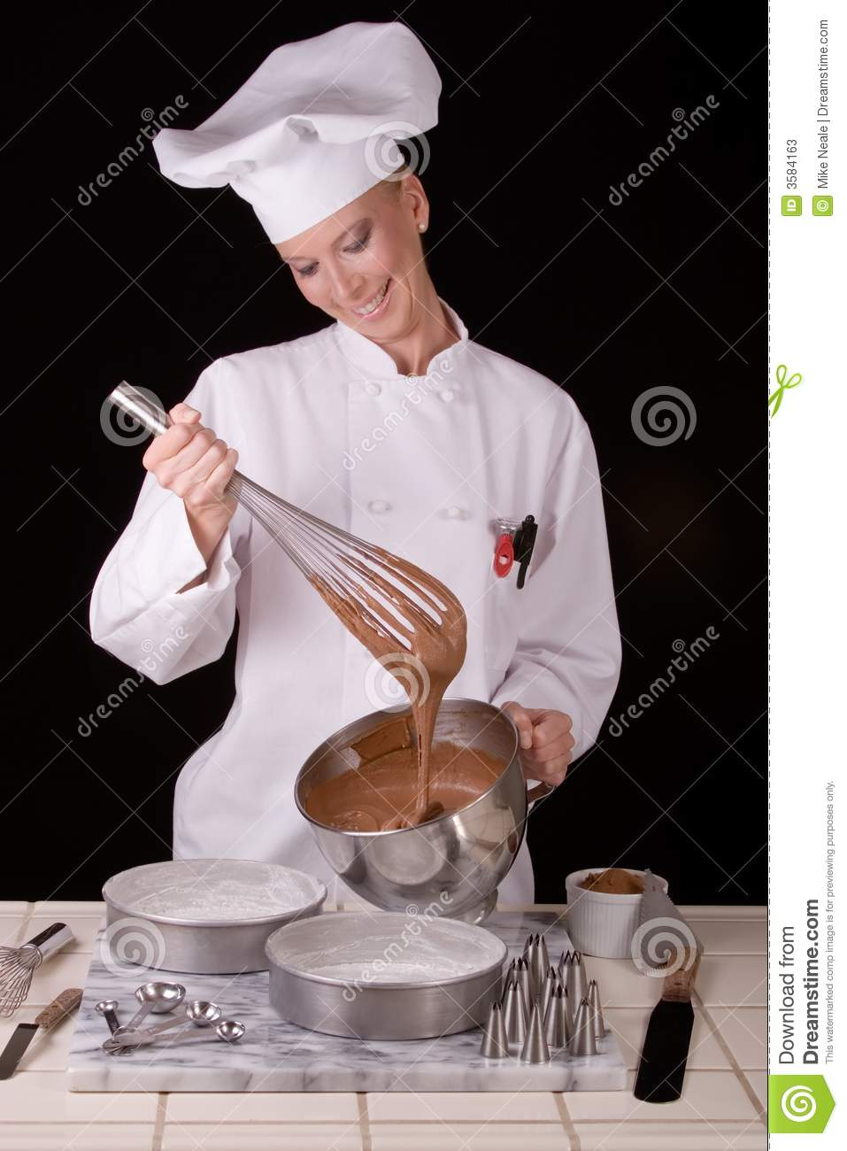 Chef Whisks Cake Batter Stock Image Image Of Girl Chef