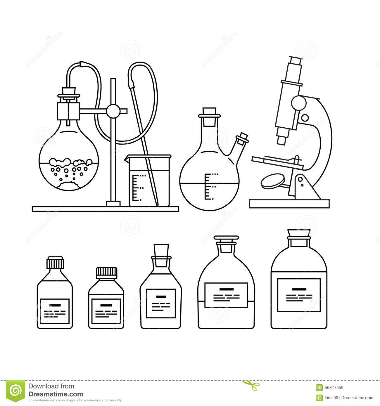 Chemical Glassware Icons Set Stock Vector
