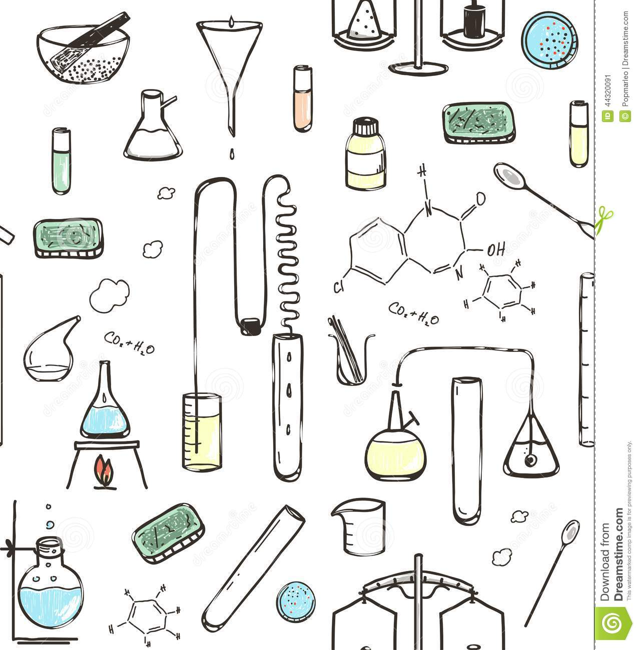 Chemical Laboratory Seamless Pattern Stock Vector