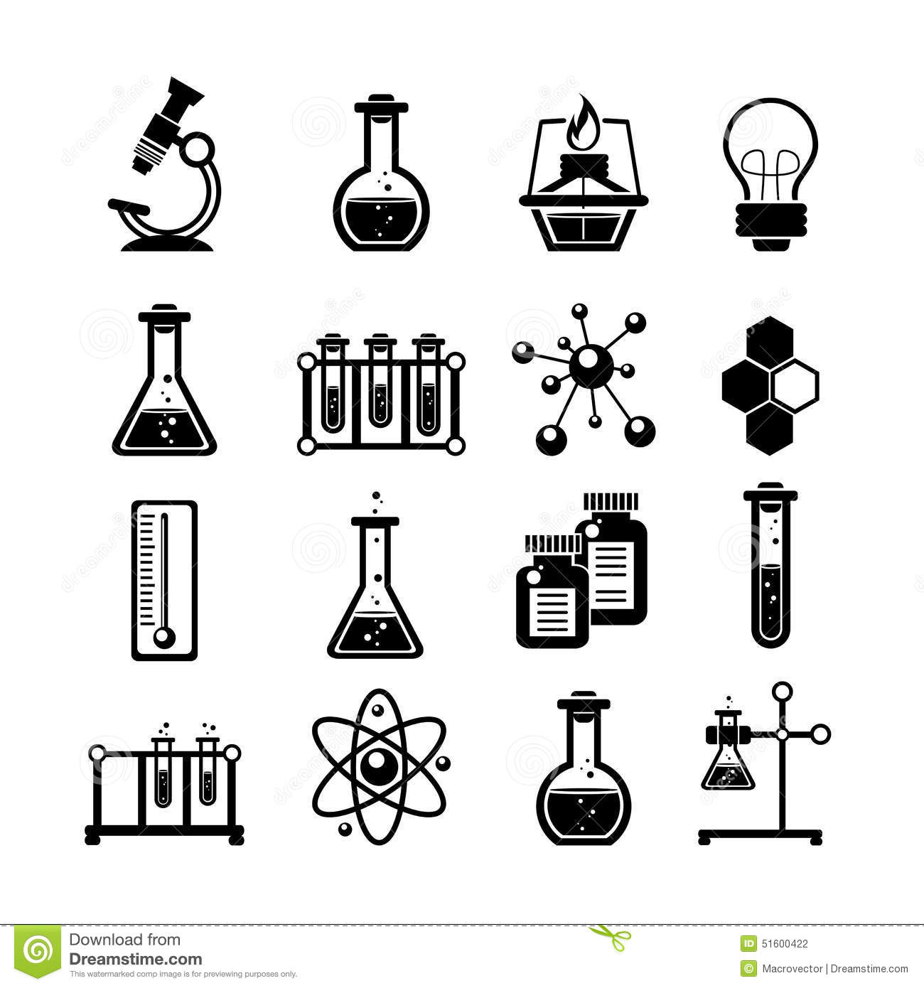 Chemistry Icons Set Black Stock Vector