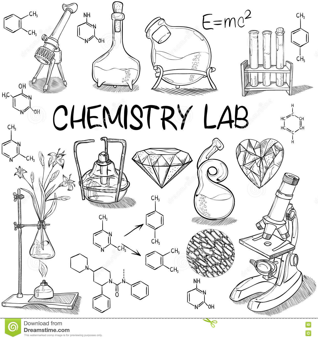 Chemistry Lab Sketch Set Stock Vector Image Of Microscope