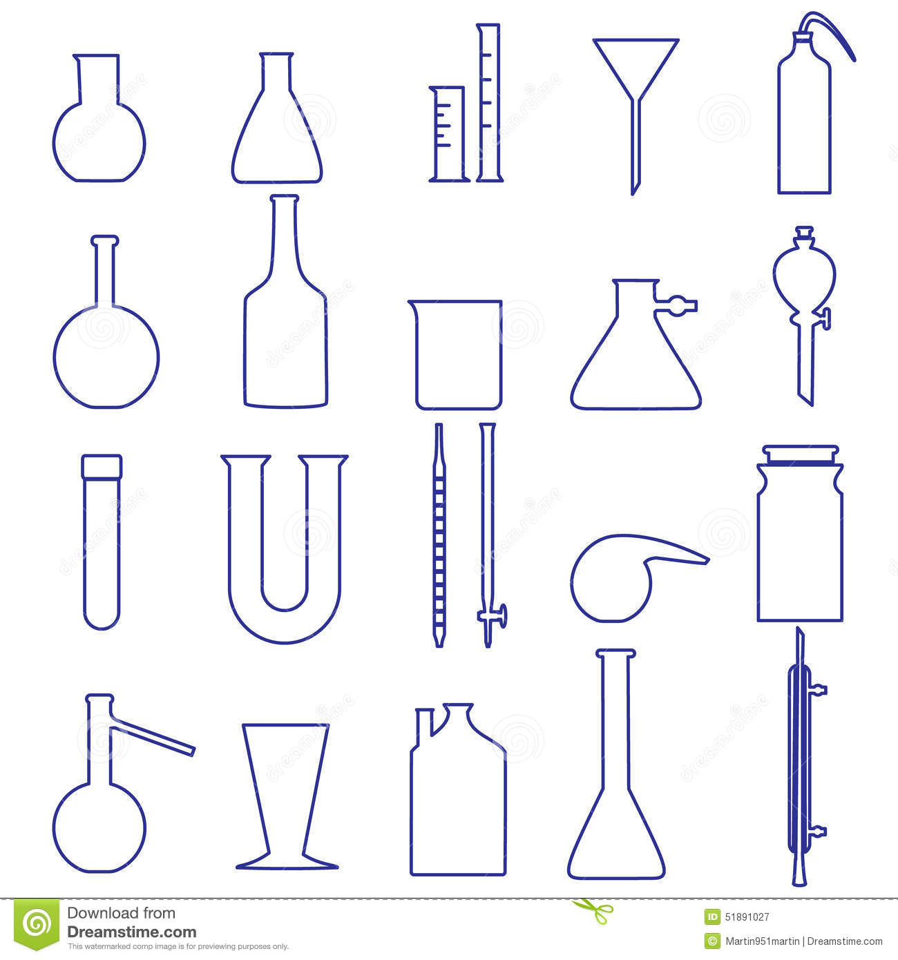 Chemistry Laboratory Glassware Simple Outline Icons Stock
