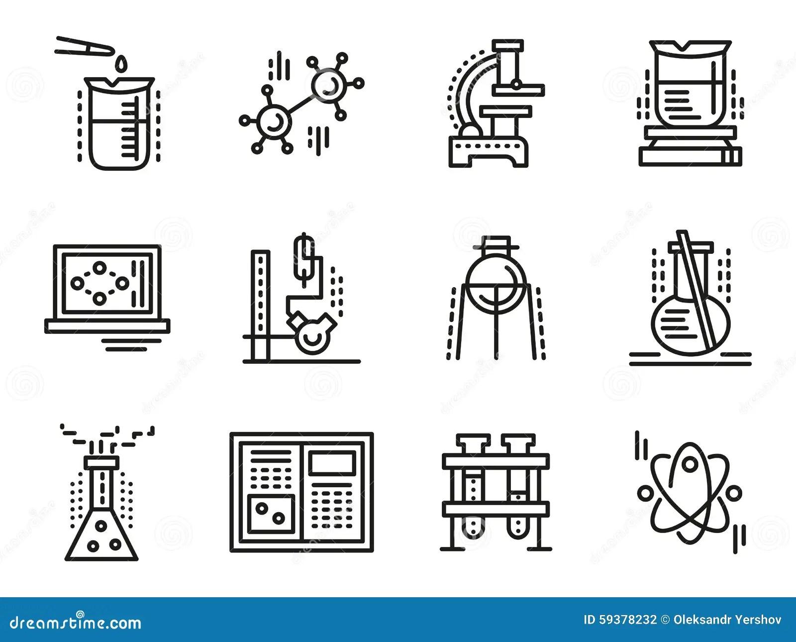 Set Of Scientific Symbols Cartoon Vector